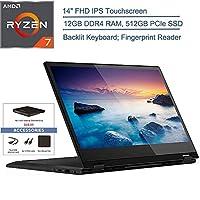 2020 Lenovo Flex 14 2-in-1 14インチ FHD タッチスクリーンノートパソコン、AMD Ryzen 7 3700U クアッドコア (Beat i7-8565U)、バックライト付きキーボード、Windows 10、EST 外付けDVD + アクセサリー 12GB DDR4 RAM, 512GB PCIe SSD Flex 14