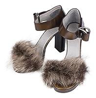 Brunello Cucinelliブラウンレザーストラップオープントウハイヒール靴7/ 37