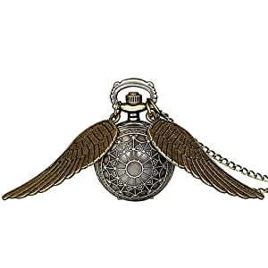JewelryWe 大切な人や,彼氏・彼女へのプレゼント:懐中時計アンティーク風,ペンダント ウォッチ ポケットウォッチ,天使の羽 フラワー,合金,クリスマス バレンタイン プレゼント