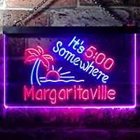 It's 500 Somewhere Margaritaville LED看板 ネオンサイン バーライト 電飾 ビールバー 広告用標識 レッド+ブルー W40cm x H30cm