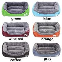 FidgetGear 子犬の厚いデラックス洗える犬ペット暖かいバスケットベッドクッションフリースの裏地付き 緑