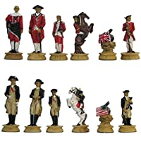 Revolutionary War Hand Painted Polystone Chess Pieces