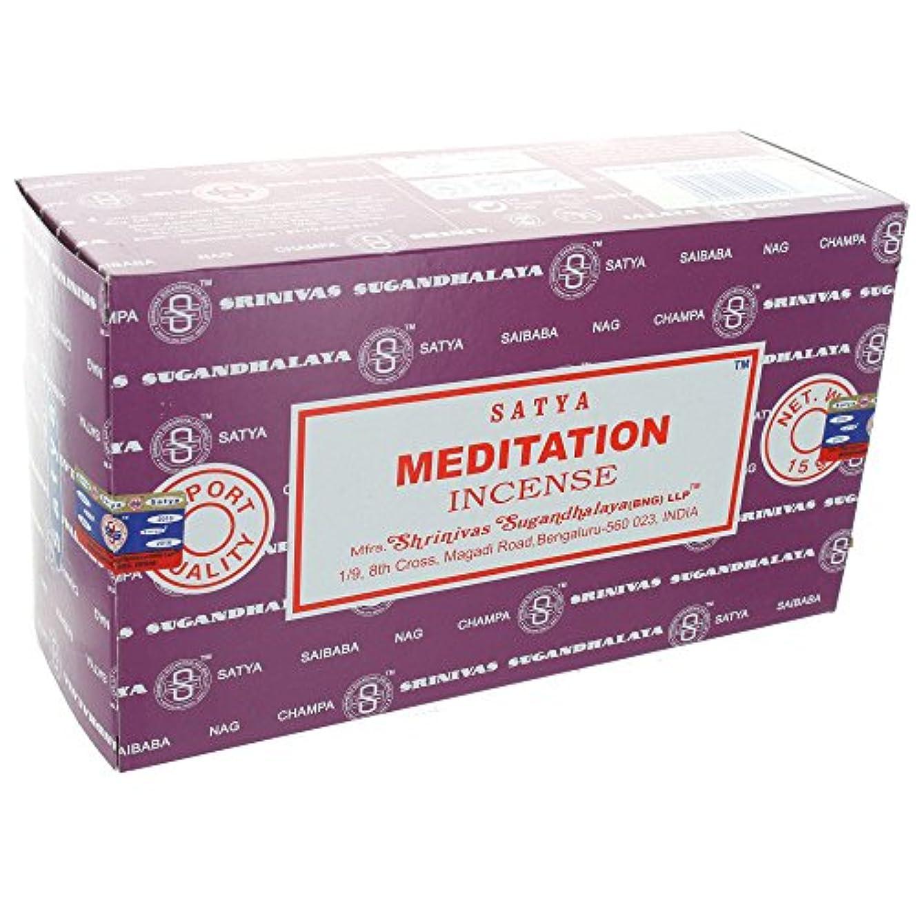満足させるマニア膜Satyaお香Meditation Incense Sticks 12 x 15グラム180グラム