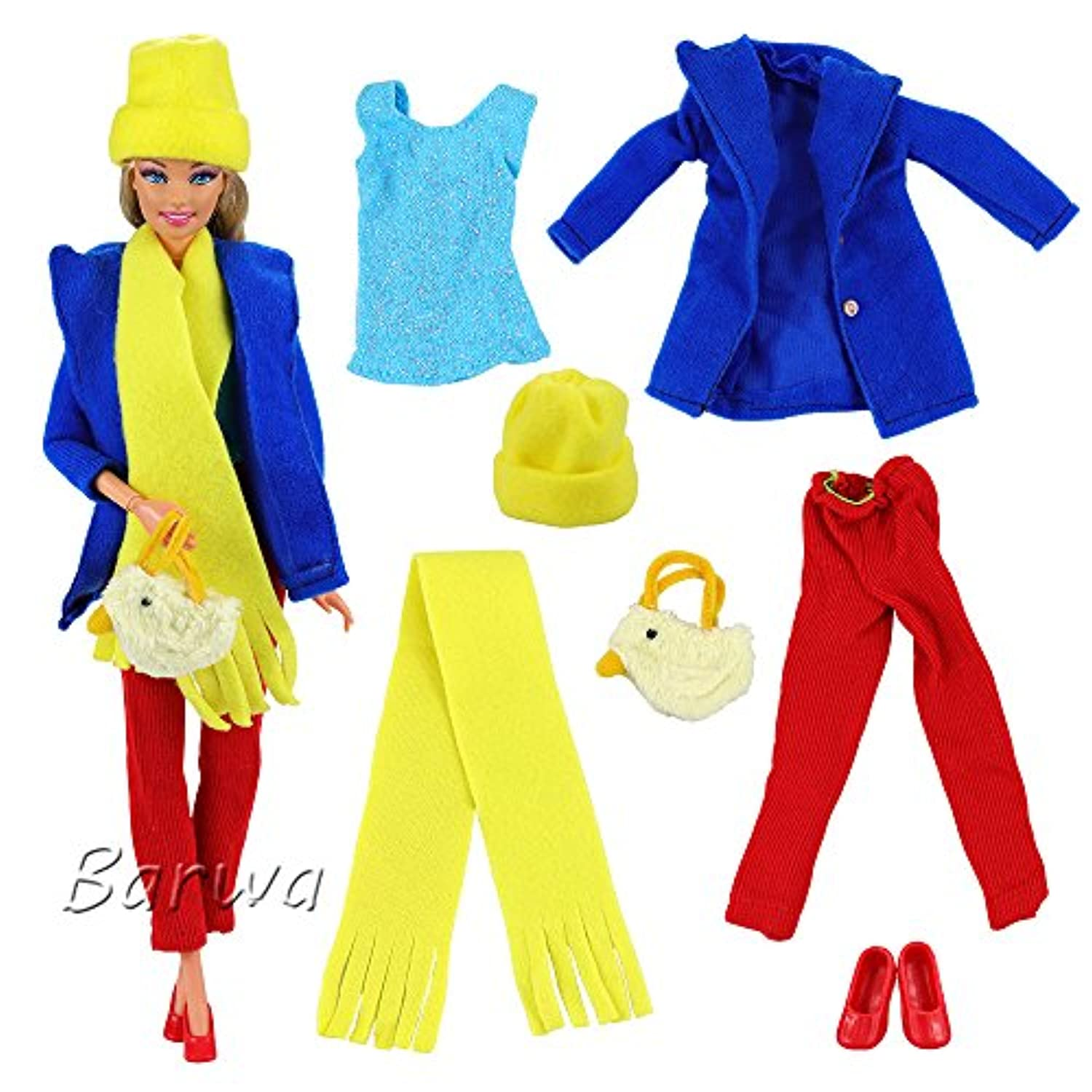 Barwa Barbie Doll Casual Clothes Outfits Accessories Lot for Girls Blue Coat Shirt Red Pants with Shoes Scarf Hat and Handbag