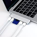 TUNEWEAR ALMIGHTY DOCK TB1 MacBook Pro Late 2016専用 マルチUSB-Cハブ Thunderbolt 3対応 (USB Cポート1: 最大40Gbpsの高速通信/最大5Kのディスプレイ出力/87W PD対応) シルバー TUN-OT-000033