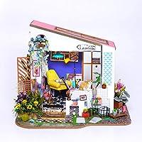 木製の人形の家ミニDIYのキャレットキット家具とカバーと手作りのアセンブリの家のモデル