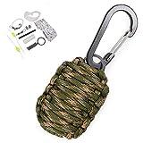 パラコードキーホルダー 手榴弾型 サバイバルキット カラビナ OD&タン&ブラックカモ