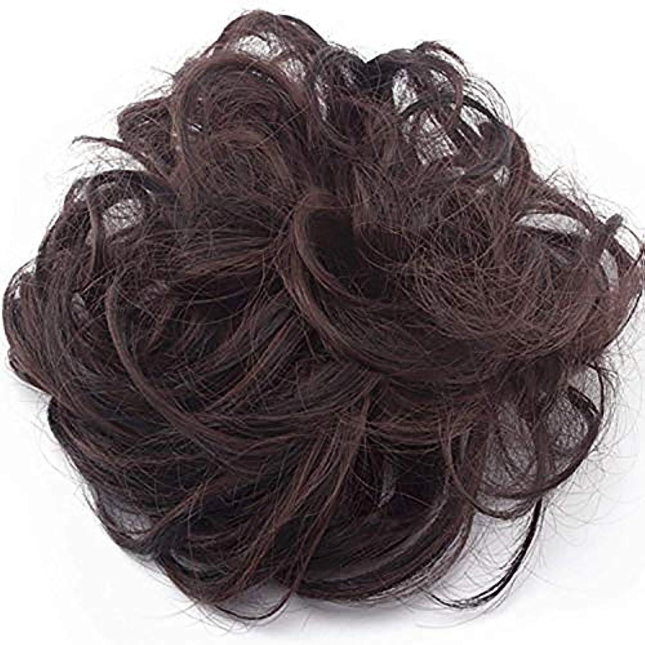 不安趣味事実上汚れた女の子の毛波状毛エクステンションヘアバンド饅頭饅頭は(自然な黒と白のミックス、オーバーン)かつらテープ拡張をポニーテール