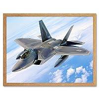 Military Air Plane Bomber Fighter Jet Fly F-22 Raptor Art Print Framed Poster Wall Decor 12X16 Inch 軍事飛行機爆撃機ファイターポスター壁デコ
