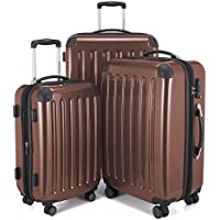 Hauptstadtkoffer Alex Set of 3 Luggages Suitcase Hardside Spinner Trolley Expandable TSA, Brown, Set