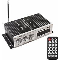 OBEST コンパクトオーディオアンプ Hi-Fiステレオアンプ USB/SDカード再生可能 デジタルディスプレーデ リモコン付き 12V対応 LP-A7USB