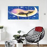 liguo88カスタムキャンバス猫装飾Cat Sleeping On Crescent Moon Stars Night Sweet Dreamsテーマキッズ子供部屋デザイン壁Hangingの寝室リビングルームブルーイエロー 20 x 30 inches