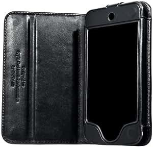 CAPDASE iPod touch 第4世代 専用 よこ開き Bi-fold ブックタイプ 本革製ケース ブラック WCIPT4-5001