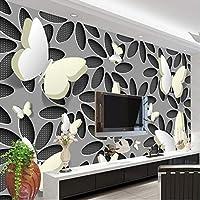 Xbwy 3D立体蝶花の壁画の壁紙壁の3D不織シームレスな壁紙の寝室のテレビの背景ホーム改善-150X120Cm