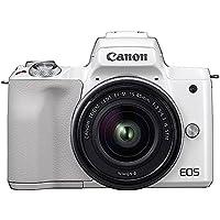 Canon ミラーレス一眼 EOS Kiss M ホワイト レンズキット EF-M15-45 IS STM付属 EOSKISSMWH-1545ISSTMLK