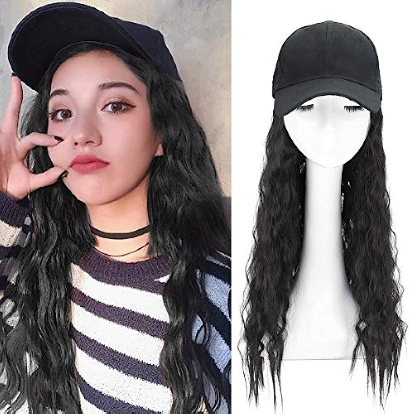 パキスタン人ファイター趣味長い巻き毛を持つ合成長波野球帽合成毛を持つ波状かつらキャップ女の子のための髪を持つ調整可能な野球帽帽子