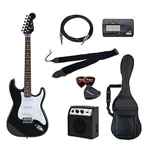PhotoGenic エレキギター 初心者入門バリューセット ストラトキャスタータイプ ST-180/HBK マッチングヘッドブラック ローズウッド指板