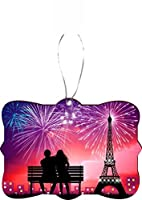 Rikki Knight RKWS-SQORN-46209 Parisian Couple watching Fireworks Design Ornament [並行輸入品]