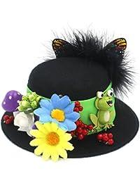 Ruiyue ミニトップ帽子、黒の工芸パーティーの魅力を作るワニ口クリップ製織DIY一般女性用 (色 : Black)