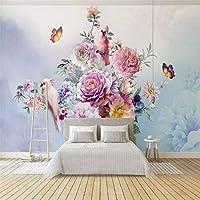 Ljjlm 手描きのヴィンテージローズオウム壁紙の壁カスタム3D壁紙ヴィンテージ装飾的な絵画の壁紙Muarl-200X140CM