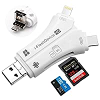MIRAIS SD カードリーダー 4in1 iPhone Micro-USB メモリー スティック Android USB 3.0 (ホワイト) MR-4in1SD-wh