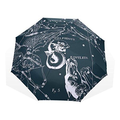 HMWR(ヒマワリ) おしゃれ 神話 星座柄 宇宙柄 星空 いるか座 雑貨 アニマル柄 レディース メンズ 子供用 三つ折り傘 折りたたみ傘 頑丈な8本骨 耐強風 軽量 撥水性 大きい 手動開閉 雨傘 日傘 晴雨兼用 収納ケース付 携帯用 かさ