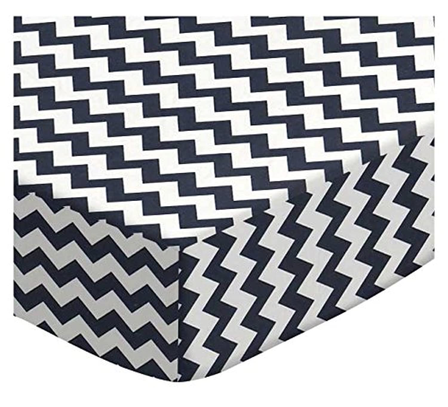 SheetWorld Fitted Square Playard Sheet 37.5 x 37.5 (Fits Joovy) - Navy Chevron Zigzag - Made In USA by sheetworld