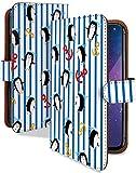 Galaxy S8+ SCV35 ケース 手帳型 マリンペンギン 青 ボーダー柄 マリン スマホケース ギャラクシー s8plus プラス S8プラス 手帳 カバー GalaxyS8+ scv35 scv35ケース scv35カバー 水兵 ペンギン 夏 イカリ柄 [マリンペンギン 青/t0554c]