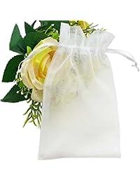 Fushing 100枚 無地オーガンジー巾着袋 ギフト包装 、ジュエリー、プレゼントポーチ 11*16cm (ホワイト)