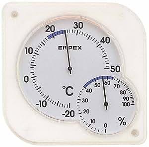 エンペックス 温度計 湿度計 シュクレミディ 置き掛け クリアホワイト TM-5601