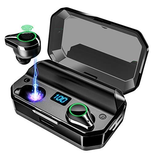 令和最新版イヤホン 8000mAh超大容量ケース付き 480時間連続駆動 LED電量表示 Bluetooth5.0信号増強版無障害超遠距離40M安定接続 Bluetooth イヤホン ワイヤレスイヤホン 電量インジケーター付き IPX7完全防水 イヤホン Hi-Fi 高音質 AAC対応 最新bluetooth 5.0+EDR搭載 完全ワイヤレスイヤホン 左右分離型 自動ペアリング 音量調節可能 技適認証済/Siri対応/ iPhone  Android対応 ブラック
