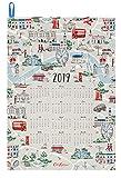Cath Kidston [キャスキッドソン] ロンドンマップ 2019年 カレンダー ティータオル London Map [並行輸入品]