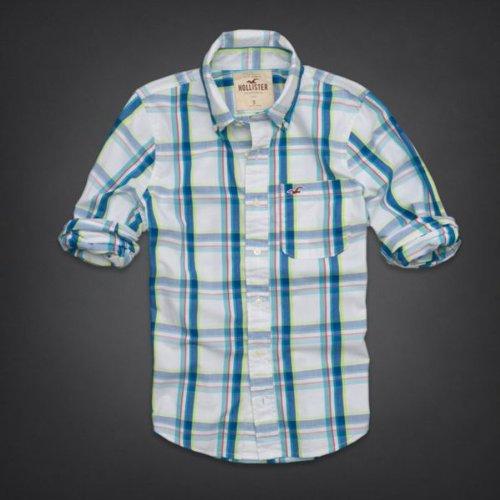 Hollister Co.(ホリスター) シャツ メンズ カジュアルシャツ [ホワイト×ネイビー] M [並行輸入品]