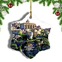Weekinoフランスストーンタウンゴルドプロヴァンスクリスマスオーナメントクリスマスツリーペンダントデコレーション旅行お土産コレクション陶器両面デザイン3インチ