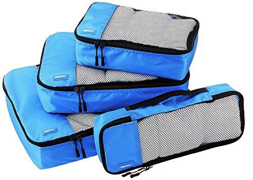Amazonベーシック 旅行用 収納 ケース 4点セット - Lサイズ Mサイズ Sサイズ スリム 各1 ブルー