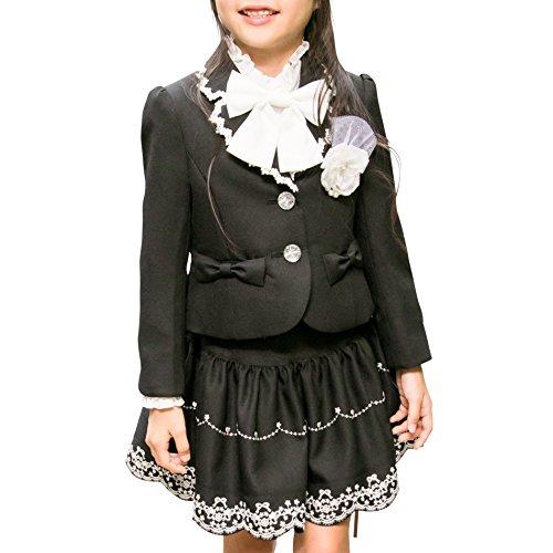deaa0dfbfcd94  アリサナ arisana 入学式 女の子 スーツ 卒園式 子供服 フォーマル スカート フローラ (ジャケット + スカート + コサージュ の 3点  セット) 黒ジャケット 1.