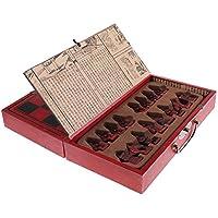 Baoblaze 木製 折りたたみ チェスボード 樹脂 テラコッタの戦士 チェスピース セット グッズ お土産 手工芸品