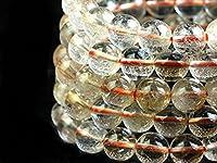 【天然石の島田商事】天然石ブレスレット/オレンジルチルクォーツ(クリア)/9mm/ab-00480
