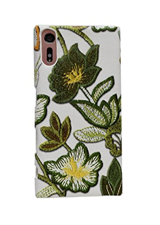 国歌在庫バタフライらくらくスマートフォン4 F-04J スマホ ケース ハーフ 背面 カバー (PU レザー 合皮) かわいい スッキリ 柔らかい 花柄 イエローグリーン 黄緑