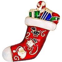 Doitsa ブローチ 胸元 中空 ラインストーン クリスマスソックス 輝く プレゼント ギフト キラキラ 赤