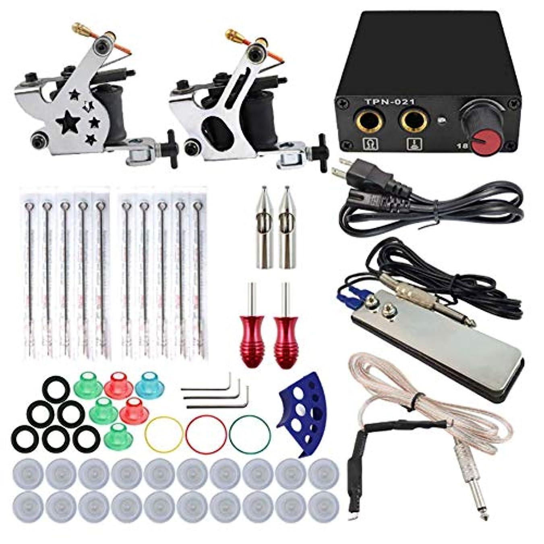 潤滑するマイナス説明する初心者のためのスタータータトゥーキット2マシンガンタトゥーミニ電源ユニットの供給タトゥーキットEUプラググリップ針の練習