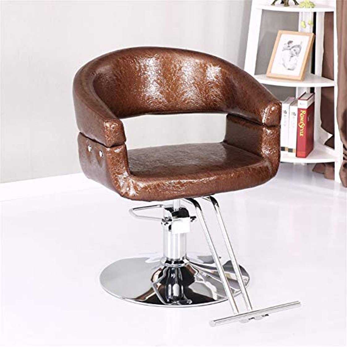ささやき中で浸したSalon Chair Fashion Hydraulic Barber Chair Styling Beauty Salon Equipment Round Base Stable Comfort,Brown,B