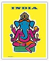 インド - ヒンドゥー教の神ガネーシャ - ビンテージな航空会社のポスター によって作成された ジャン・カルリュ c.1959 - アートポスター - 41cm x 51cm