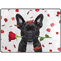 vantasoドアマット非スリップエリアラグHappy Valentine DayブラックフレンチブルドッグCrazy and Silly in Love Playマットカーペットの再生の子供部屋リビングルームSoft Foamキッチンラグ63 x 48インチ 80 x 58 inch