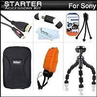 スターターアクセサリーキットfor Sony Cyber - shot DSC - dsc-tx200V、dsc-tx20、dsc-tf1、dsc-tx30デジタルカメラはケース+ 7柔軟な三脚+マイクロHDMIケーブル+フローティングストラップ+ USB High Speed 2.0SDカードリーダー+ LCDスクリーンプロテクター+マイクロファイバー布+ +