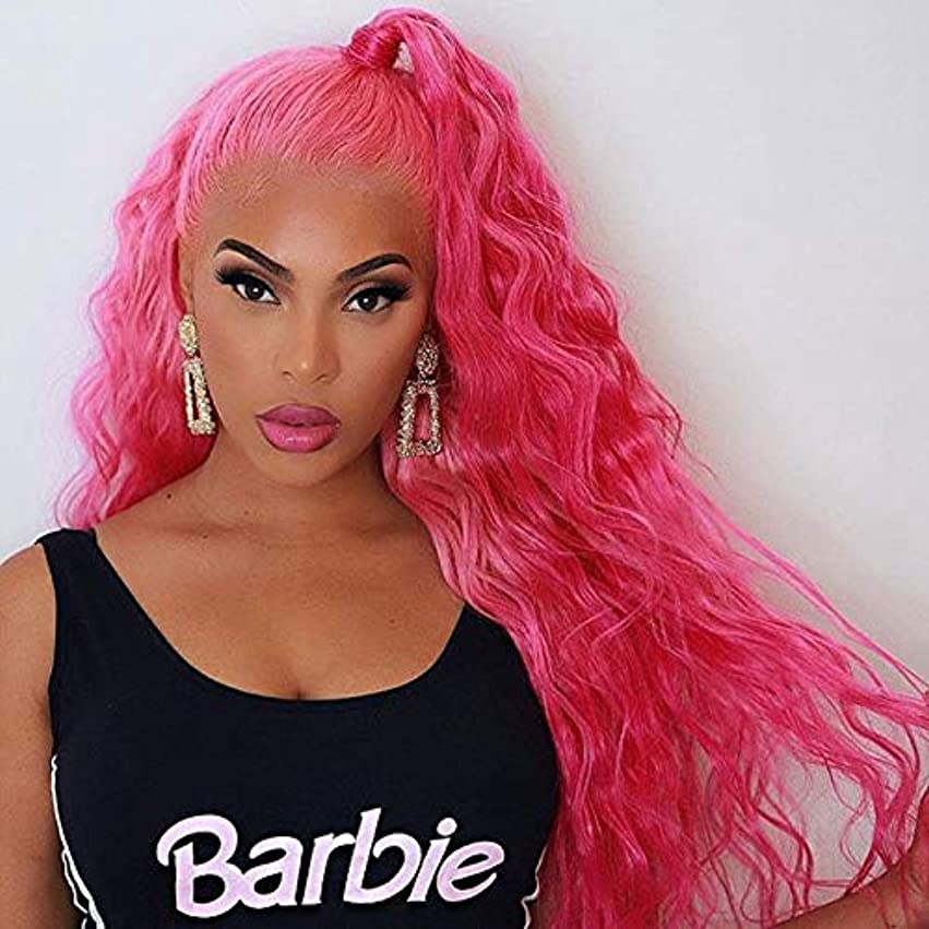懲らしめ破壊的元に戻す女性の好きなウィッグ 女性のためのベビーヘアー合成かつらとピンクのかつらの高温度髪グルーレスカーリーウィッグの合成レースフロントウィッグ (Bulk Buy : 1 PC, Stretched Length : 22inches)