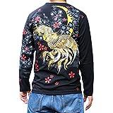 【T143-6】【和柄ロンT】和柄刺繍長袖Tシャツ 和柄ロンT 金魚刺繍和柄長袖Tシャツ (XL, 黒)