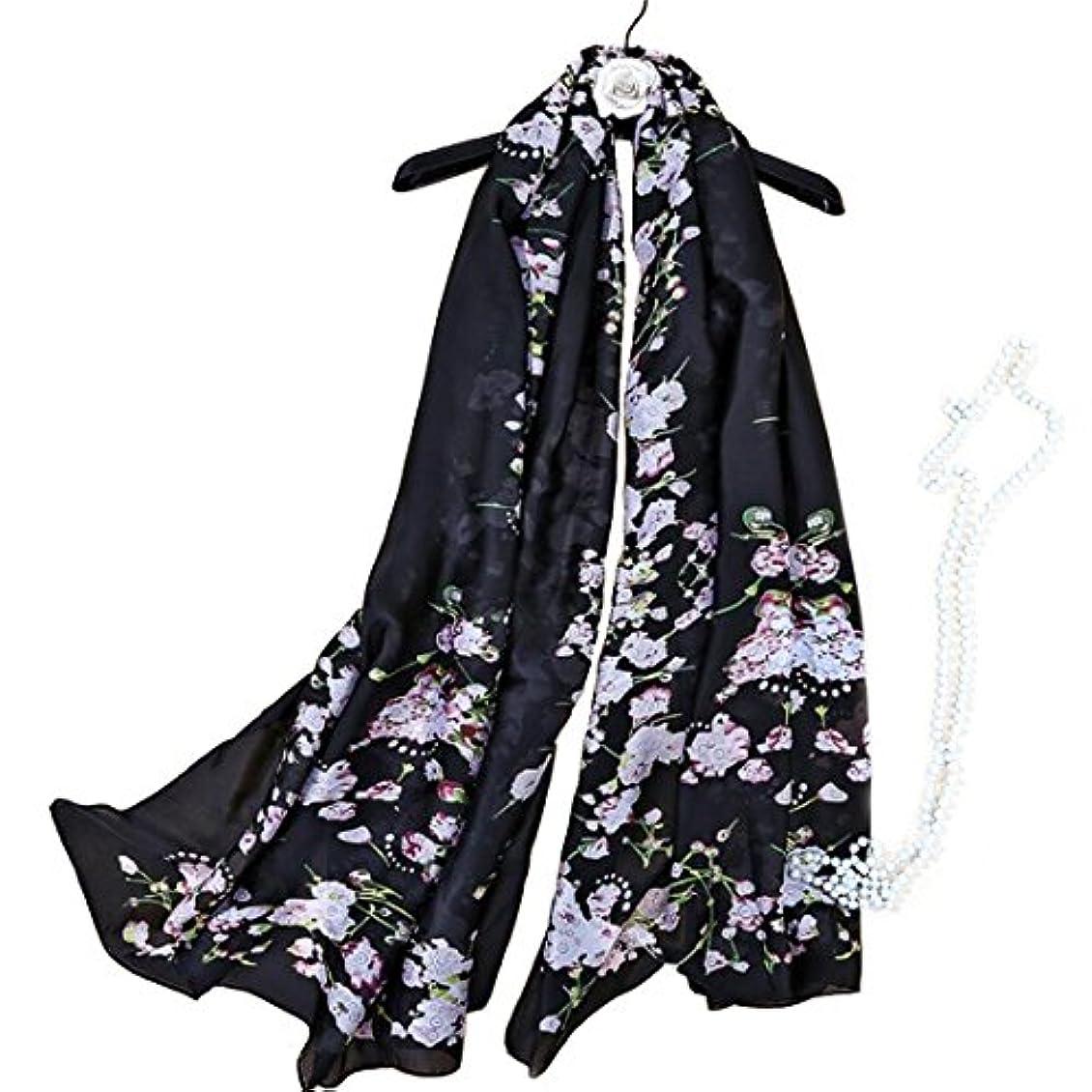 隙間戻す抵抗女性のためのシルクスカーフラージサテンのヘッドスカーフファッションパターンラップショールスカーフ (Color : ブラック)