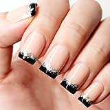 YUNAI French Nail Nude Nails with Black and Glitter Top Artificail Nails for Daily Wear Medium-Long Size Nails