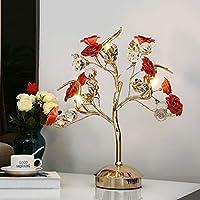 LZY 電気スタンド- セラミックフラワーテーブルランプベッドルームベッドサイドランプスタディルームリビングルームホテルヴィラ贅沢な装飾照明 (Color : Red, Size : 43cm*50cm)